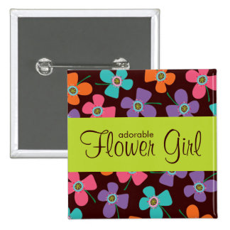 FLOWER GIRL Fun Colorful Daisy Pop Wedding Button