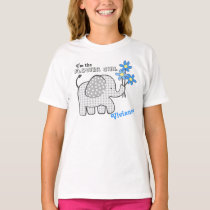 Flower Girl Gingham Elephant Blue Flowers T-Shirt