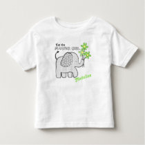Flower Girl Gingham Elephant Green Flowers Toddler T-shirt