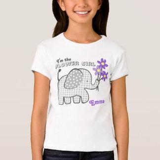 Flower Girl Gingham Elephant Purple Flowers T-Shirt