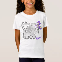 Flower Girl Gingham Elephant Purple Flowers T-Shirt