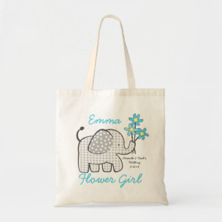 Flower Girl Gingham Elephant with Bouquet Blue Tote Bag