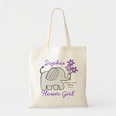 Flower Girl Gingham Elephant with Bouquet Purple Tote Bag