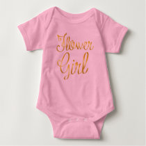 Flower Girl Gold and Pink Baby Bodysuit