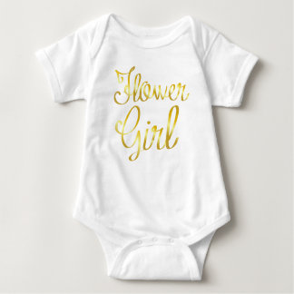 Flower Girl Gold and White Baby Bodysuit