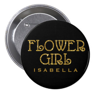 Flower Girl Gold Faux Glitter Name Tag Button