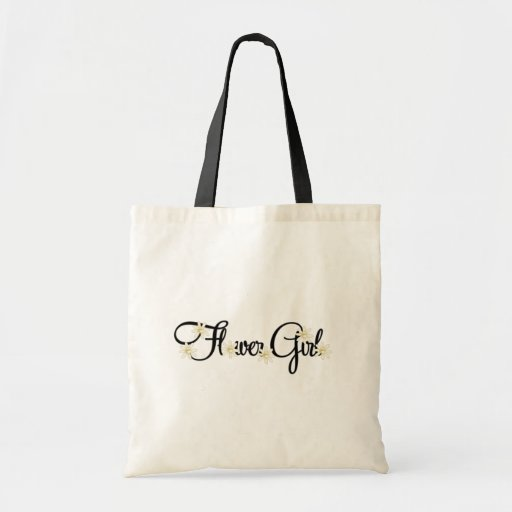 Flower Girl (gold flowers) Tote Bags