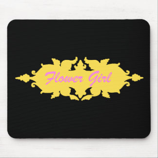 Flower Girl Golden Yellow Vintage Style Banner Mouse Pad