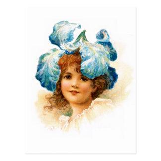 Flower Girl in Blue Post Cards