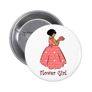 Flower Girl in Coral Pinback Button