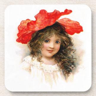 Flower Girl in Red Beverage Coaster