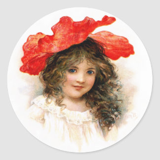 Flower Girl in Red Classic Round Sticker
