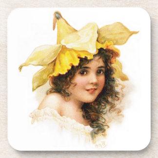 Flower Girl in Yellow Beverage Coaster