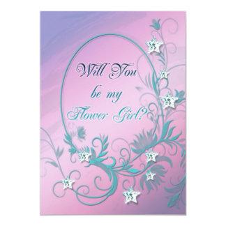 Flower girl inviation with star diamonds card