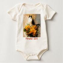 Flower Girl Kitty Cat Baby Bodysuit