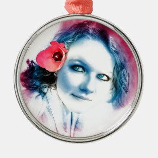 Flower Girl Metal Ornament
