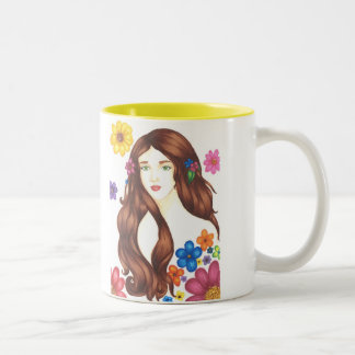 Flower Girl Mug 11oz (White/Yellow)