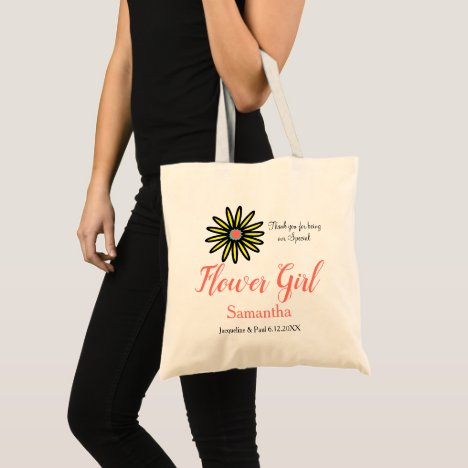 Flower Girl Name Coral Yellow Flower Tote Bag