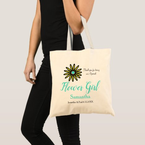 Flower Girl Name Yellow Turquoise Flower Tote Bag