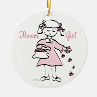 Flower Girl Double-Sided Ceramic Round Christmas Ornament