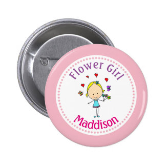 Flower Girl Personalized Button