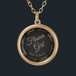 """Flower Girl Personalized Wedding Necklace Gift<br><div class=""""desc"""">This beautiful gold plated necklace is designed as a wedding gift or favor for flower girls. Designed to coordinate with our Gold Foil Elegant Wedding Suite, it features a gold faux foil flourish border with the text """"Flower Girl"""" as well as a place to enter her name. Beautiful way to...</div>"""