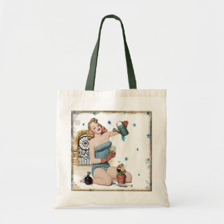 Flower Girl Pin-up Model Tote Bag