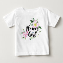 Flower Girl Pink Blush Floral Watercolor Wedding Baby T-Shirt