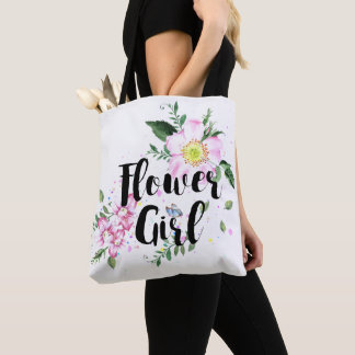 Flower Girl Pink Blush Floral Watercolor Wedding Tote Bag