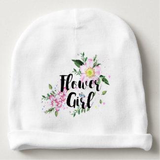 Flower Girl Pink Floral Watercolor Wedding Baby Beanie