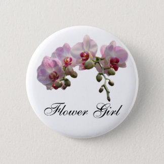 flower girl pink orchid flowers wedding button