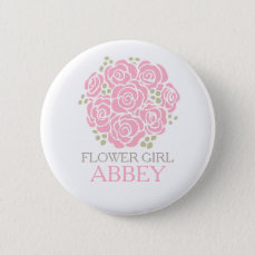Flower girl pink posy named wedding pin button