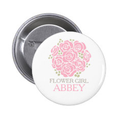 Flower Girl Pink Posy Named Wedding Pin Button at Zazzle