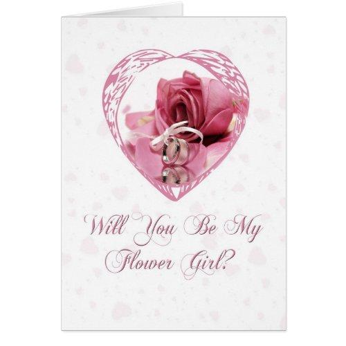 Flower Girl Pink Rose card