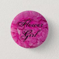 Flower Girl Pink Tissue Paper Flower Button