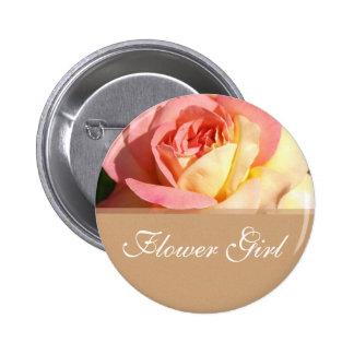 Flower girl pink yellow rose wedding name button. pinback button