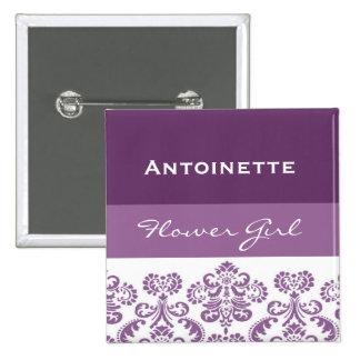 Flower Girl Purple Damask Print V29 Pinback Button