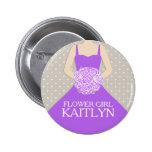 Flower girl purple dress named wedding pin button