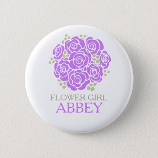 Flower girl purple posy named wedding pin button