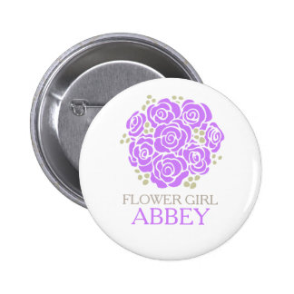 Flower girl purple posy named wedding pin button