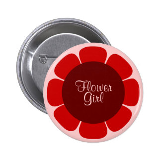 Flower Girl Red and Pink Button