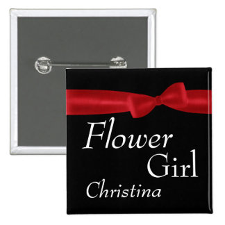 FLOWER GIRL Red Bow Wedding Custom Name Pinback Button