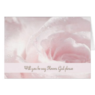 Flower Girl Request Rose Opal White Droplettes Greeting Card