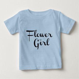 Flower Girl Retro Script Black on Blue Baby T-Shirt