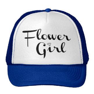 Flower Girl Retro Script Black on Blue Trucker Hat