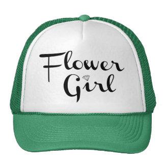 Flower Girl Retro Script Black on Green Trucker Hat