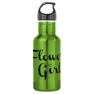 Flower Girl Retro Script Black on Green Water Bottle