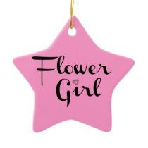 Flower Girl Retro Script Black on Pink Ceramic Ornament