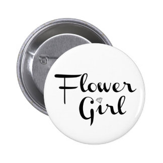 Flower Girl Retro Script Black on White Pinback Button
