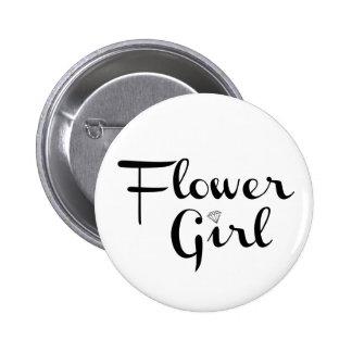 Flower Girl Retro Script Black on White Pinback Button